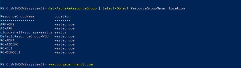 Get-AzureRmResourceGroup