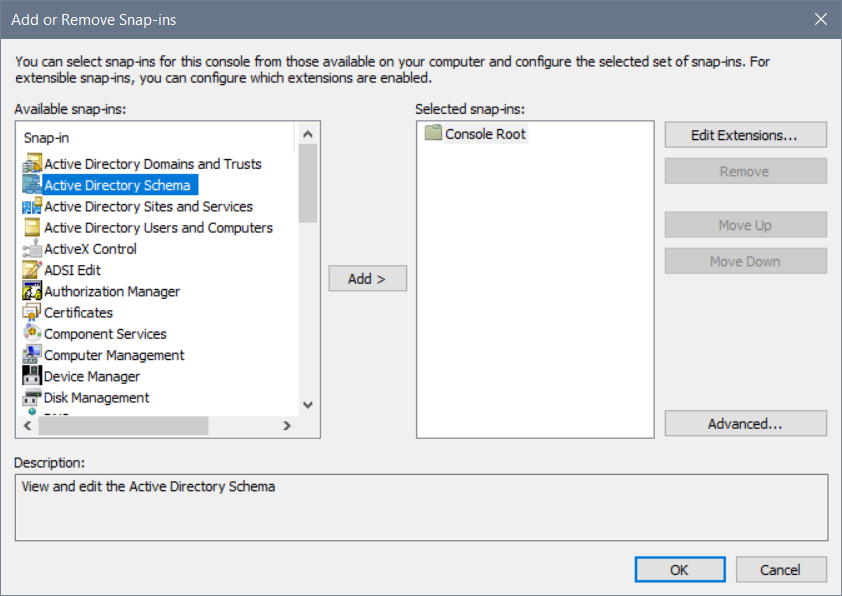 How To Register the Active Directory Schema MMC Snap-in