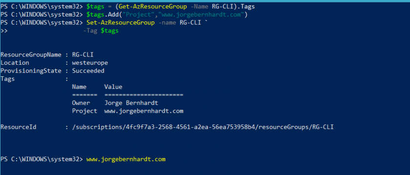 Tag Azure Resources using Az PowerShell cmdlets » Jorge Bernhardt