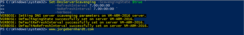 Enable scavenging settings on a DNS server with PowerShell