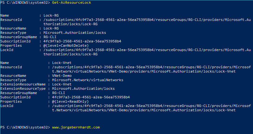 How to use Azure Resource Locks with PowerShell » Jorge Bernhardt