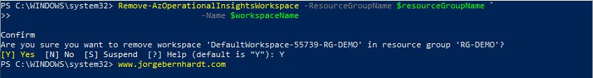Remove-AzOperationalInsightsWorkspace