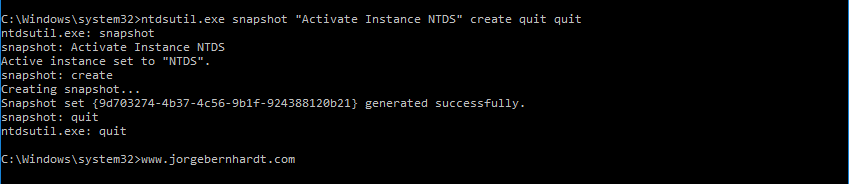 Active Directory Snapshots Using Ntdsutil Jorge Bernhardt This is the only command you'll need: active directory snapshots using