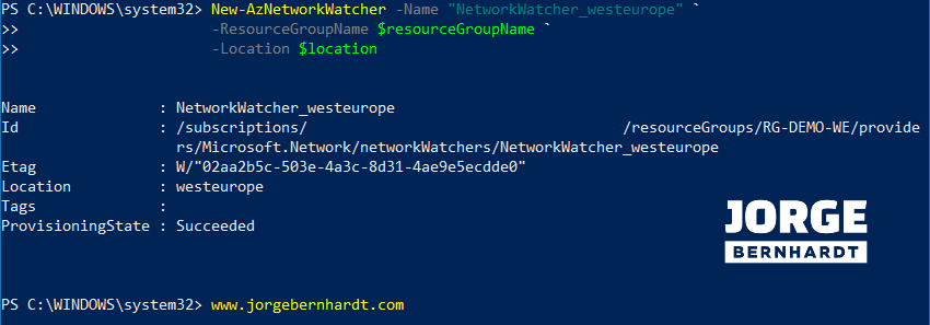 New-AzNetworkWatcher